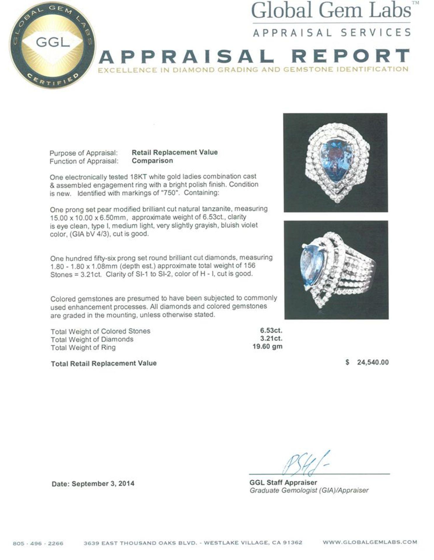 18KT White Gold 6.53ct Tanzanite and Diamond Ring - Image 3 of 3