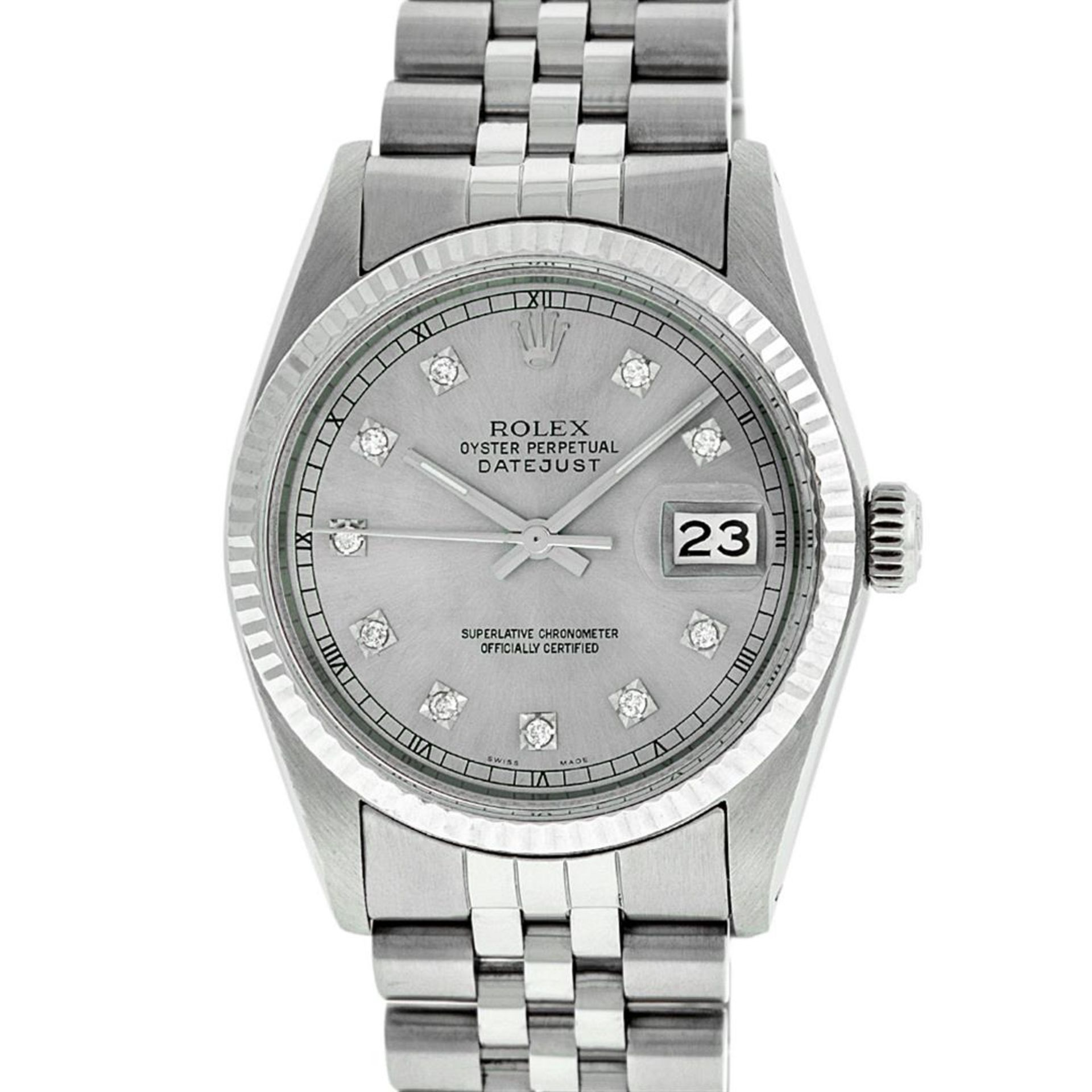 Rolex Mens Stainless Steel 36MM Slate Grey Diamond Oyster Perpetual Datejust Wri - Image 2 of 9