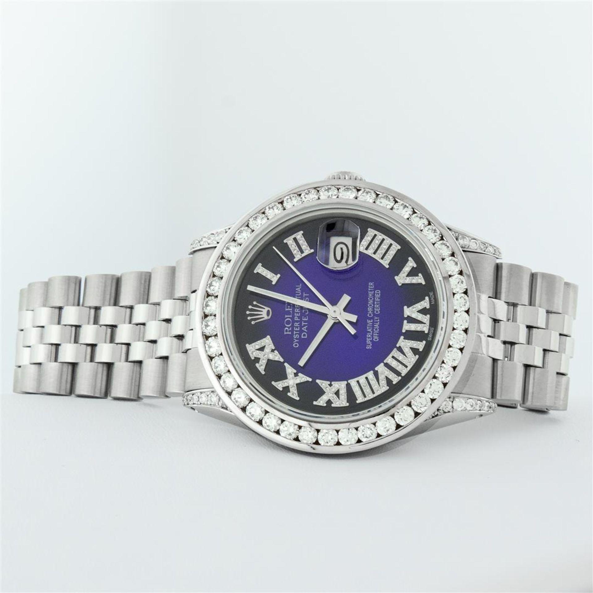 Rolex Mens Stainless Steel Blue Vignette Roman 3ctw Diamond Datejust Wristwatch - Image 7 of 9