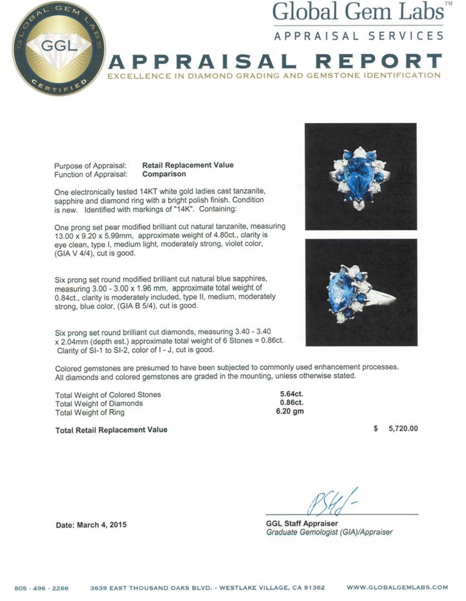14KT White Gold 4.80 ctw Tanzanite, Sapphire and Diamond Ring - Image 4 of 4