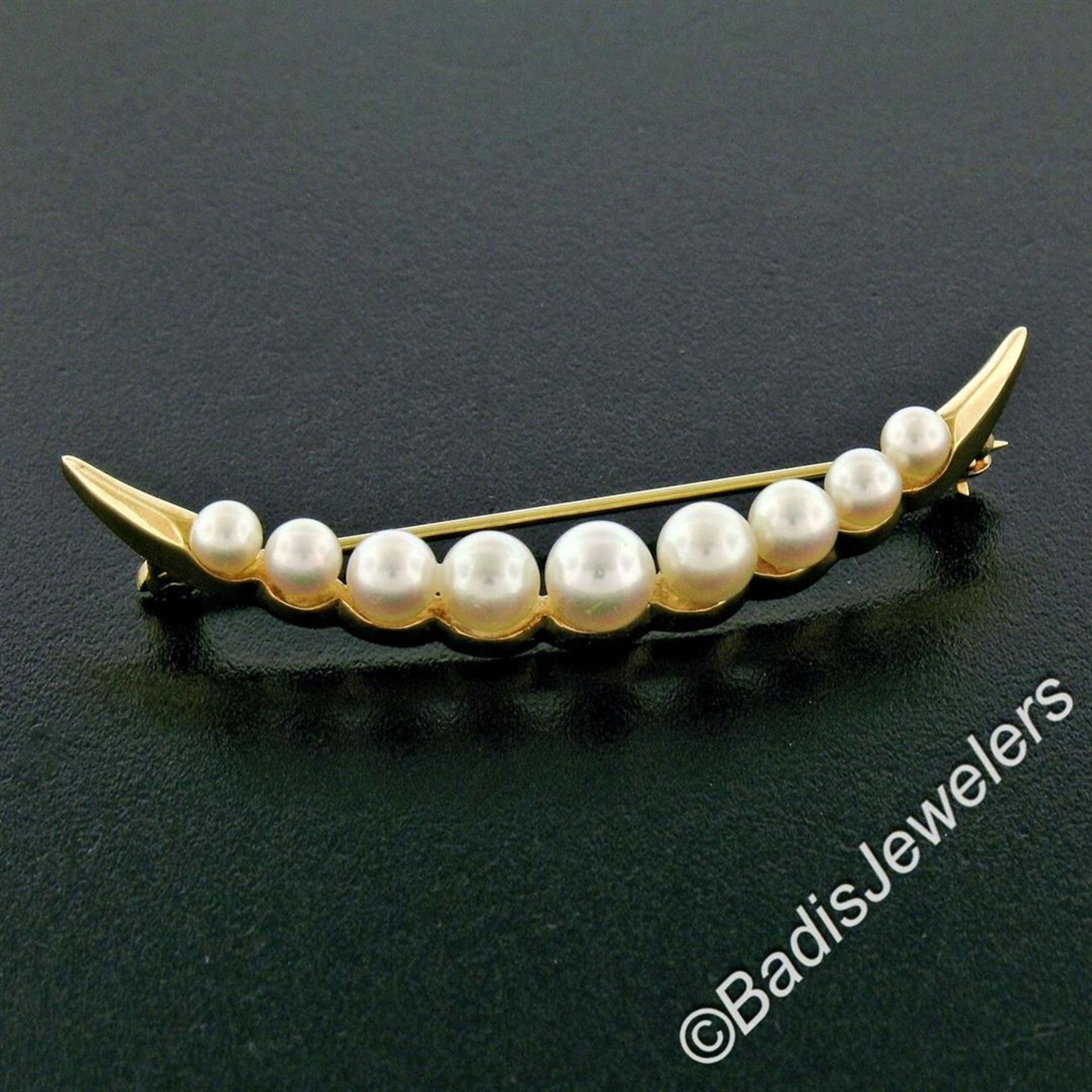14kt Yellow Gold Graduated Round Cultured Pearl Polished Crescent Brooch - Image 2 of 6
