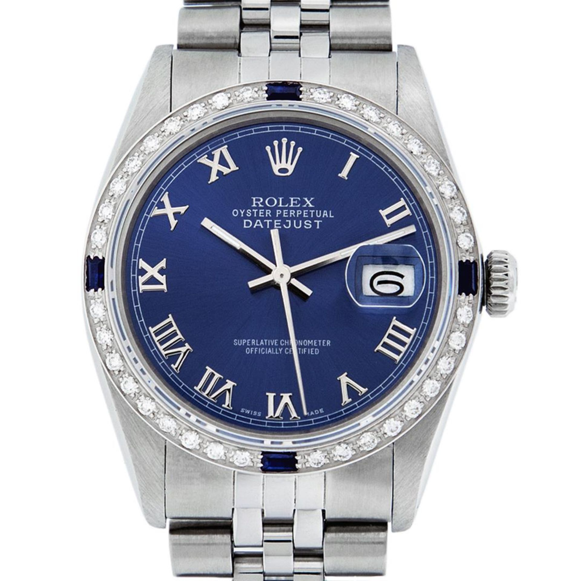 Rolex Mens Stainless Steel Blue Roman Diamond & Sapphire 36MM Oyster Perpetual D - Image 2 of 9