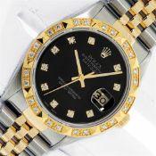 Rolex Mens 2 Tone Black Diamond Pyramid Bezel 36MM Datejust Wristwatch With Role