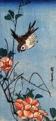 Hiroshige Sparrows and Wild Rose