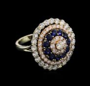 1.35ctw Sapphire and Diamond Ring - 14KT Two-Tone Gold