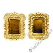 Scott Gauthier 18kt Yellow Gold Rectangular Banded Agate Earrings