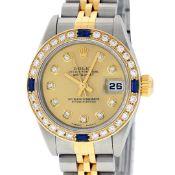 Rolex Ladies Quickset 2 Tone Champagne Diamond & Sapphire Datejust Wristwatch 26