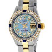 Rolex Ladies 2 Tone 18K Gold Bezel Blue String Diamond & Sapphire Datejust Wrisw