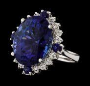 17.13 ctw Tanzanite, Sapphire and Diamond Ring - 14KT White Gold