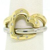 Estate 18k Two Tone Gold 0.12ctw Round Cut Diamond Open Interlocking Heart Ring