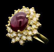 6.43 ct Ruby And Diamond Ring - 14KT Yellow Gold
