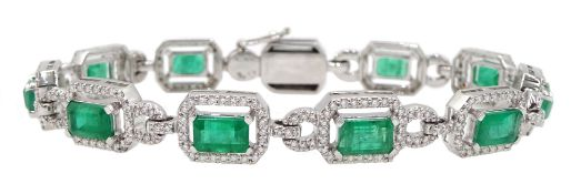 18ct white gold emerald cut emerald and round brilliant cut diamond bracelet