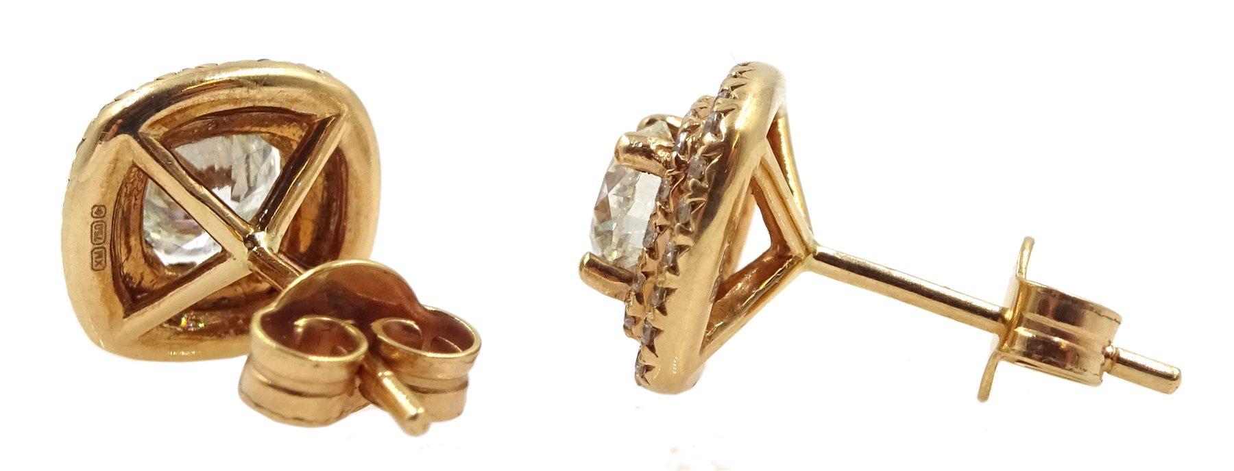 Pair of 18ct gold diamond cluster stud earrings - Image 2 of 2