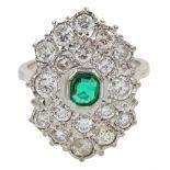 White gold Zambian emerald and diamond cluster ring