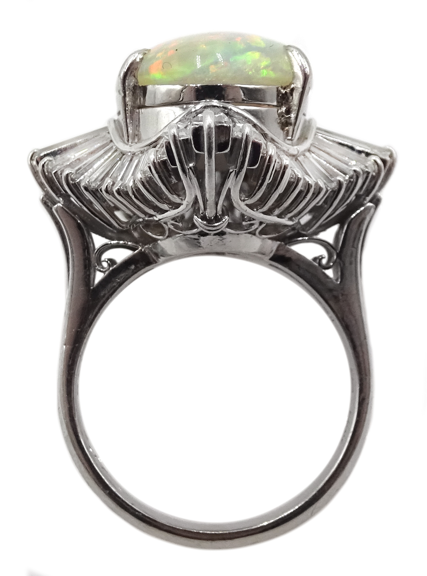 Platinum oval cabochon opal and baguette diamond ring - Image 4 of 5