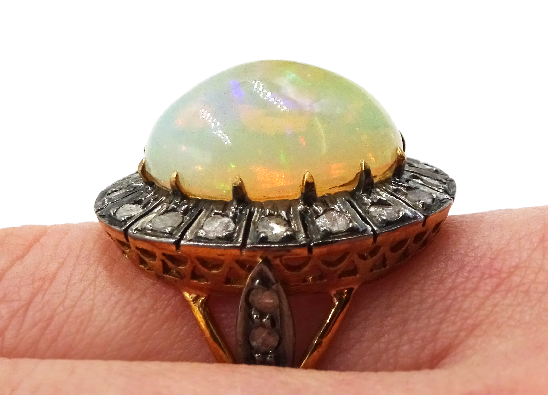 14ct gold and silver cabochon Ethiopian opal and rose cit diamond ring - Image 7 of 7