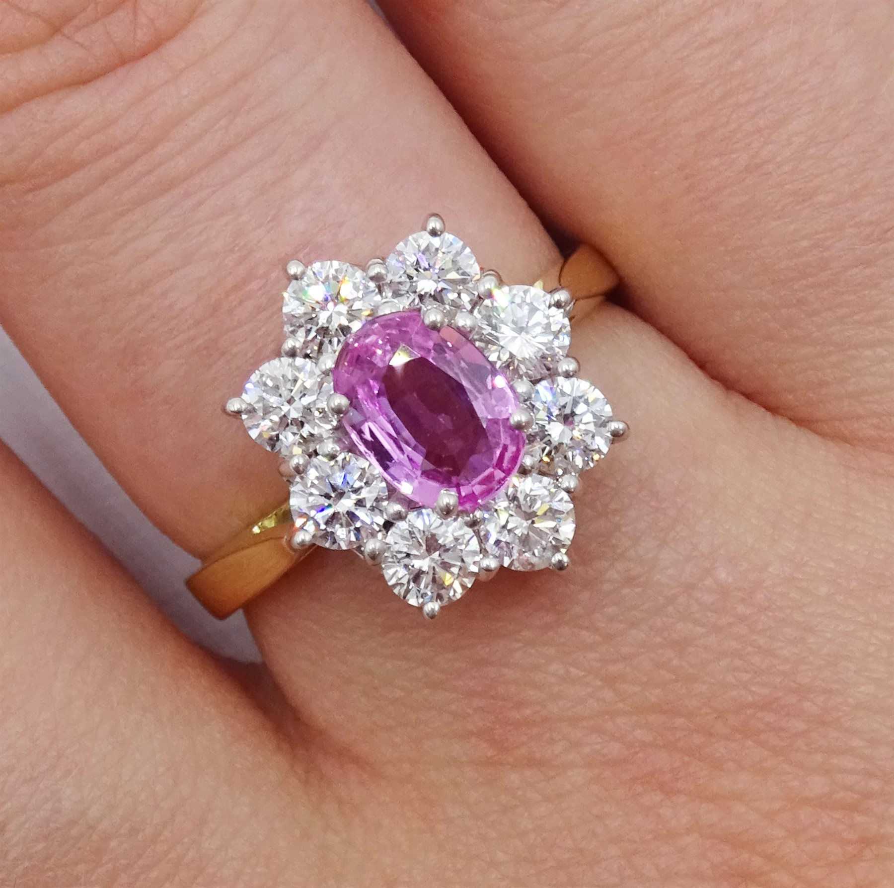 18ct gold pink sapphire and diamond cluster ring - Image 2 of 6