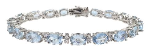 18ct white gold oval aquamarine and diamond bracelet