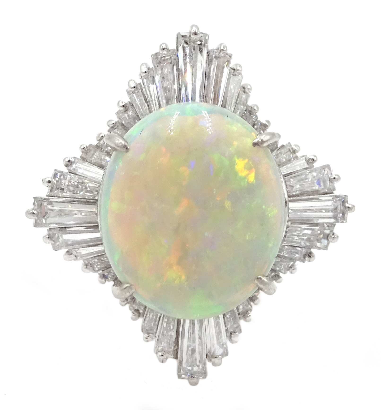 Platinum oval cabochon opal and baguette diamond ring