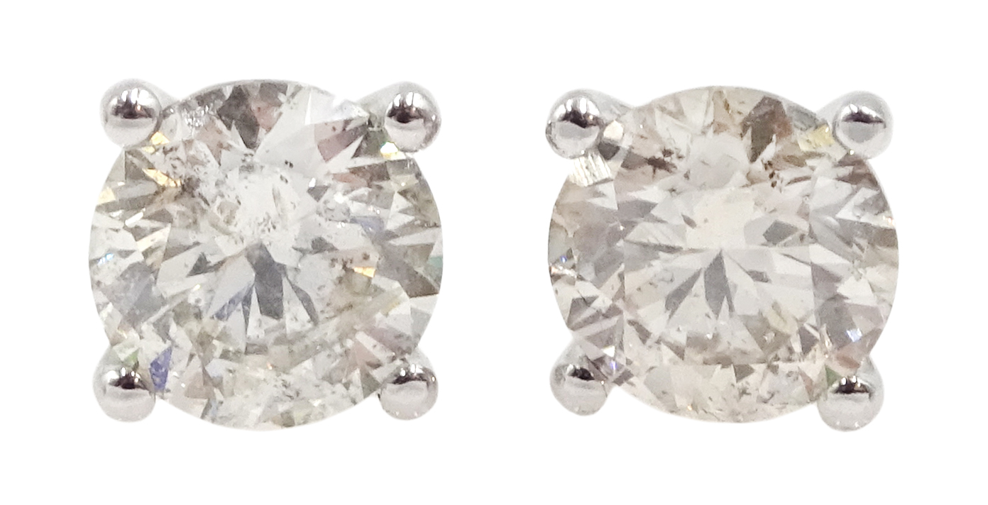 Pair of 18ct white gold brilliant cut diamond stud earrings