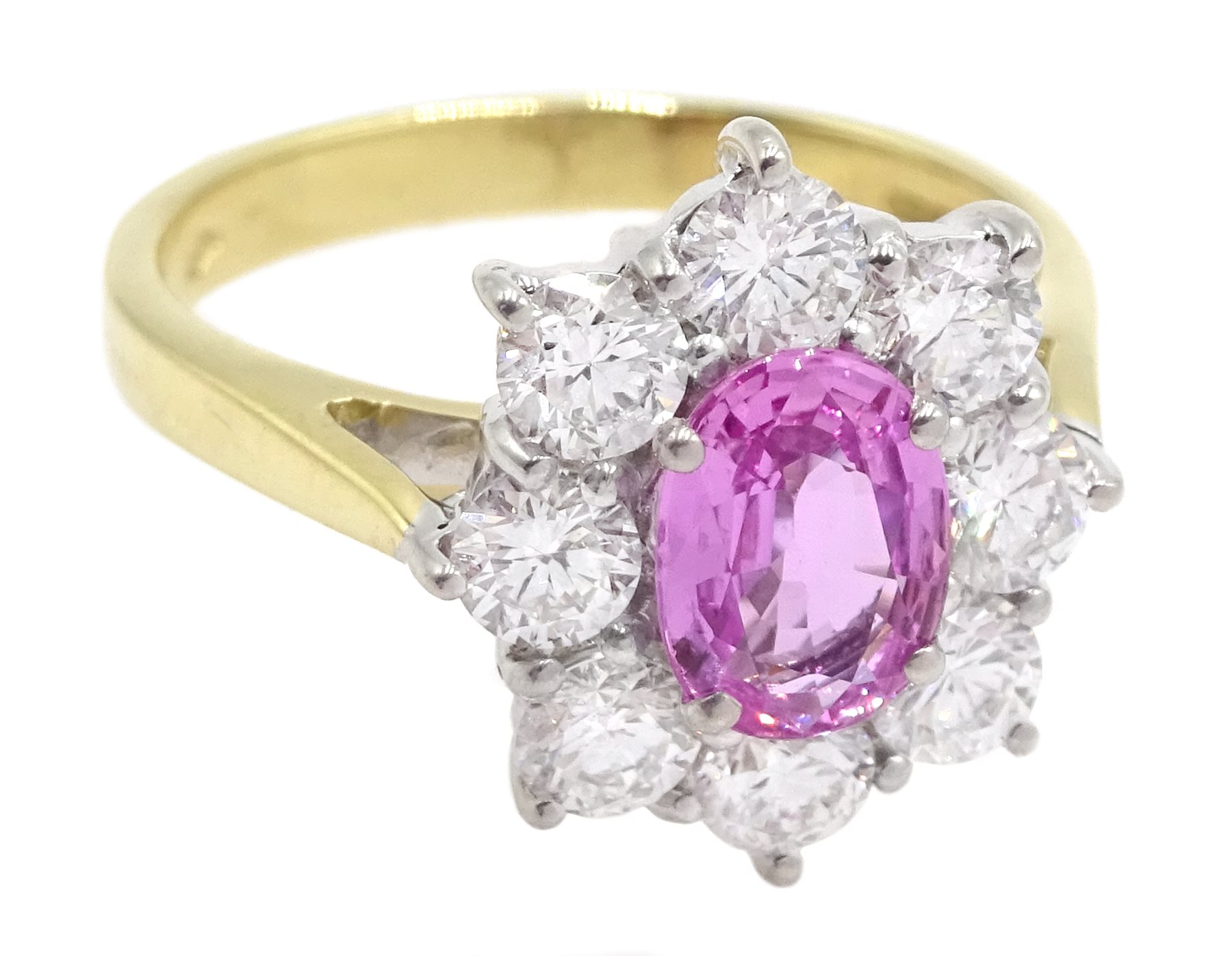 18ct gold pink sapphire and diamond cluster ring - Image 3 of 6