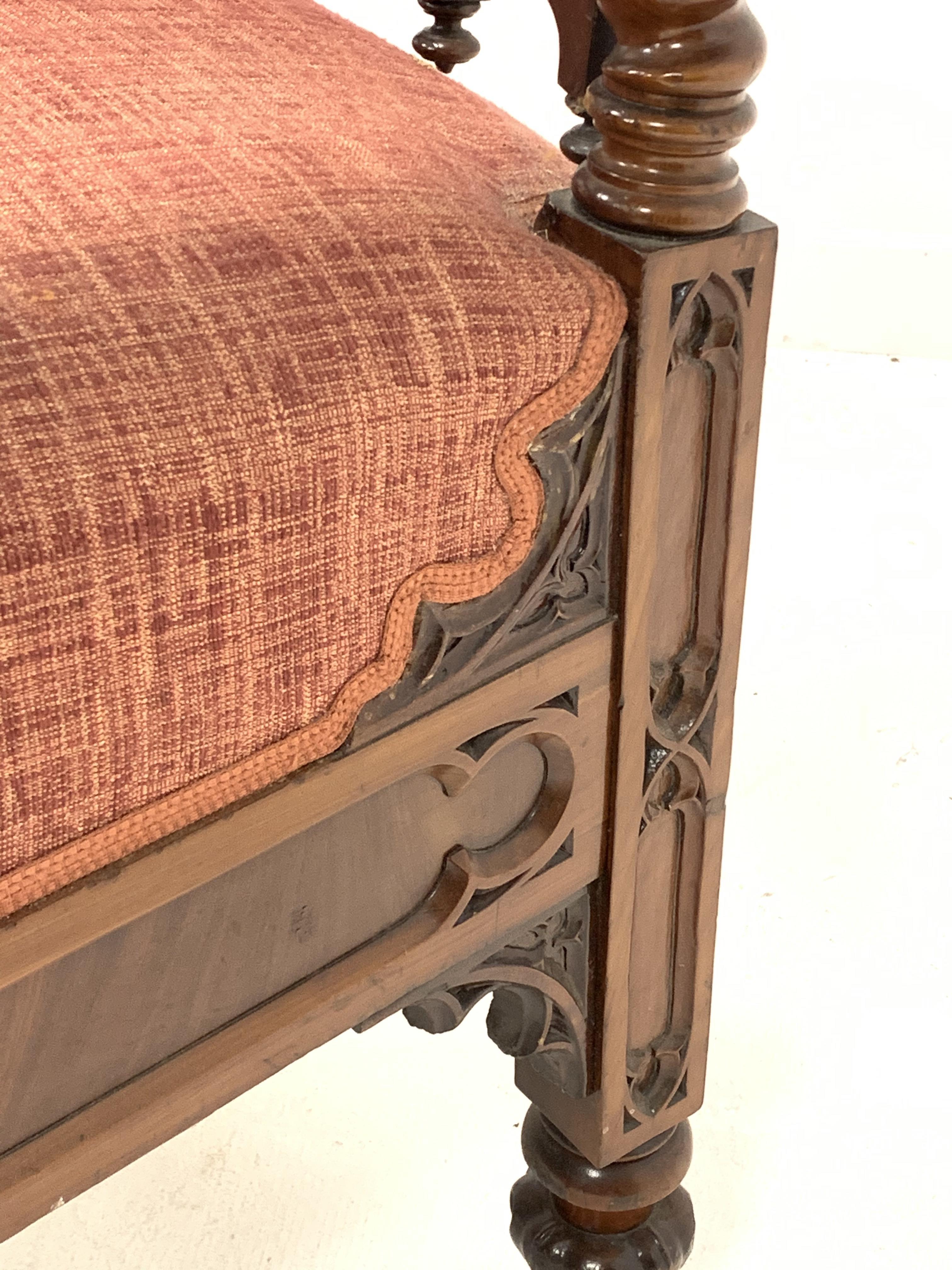 19th century Puginesque mahogany throne chair - Image 5 of 6