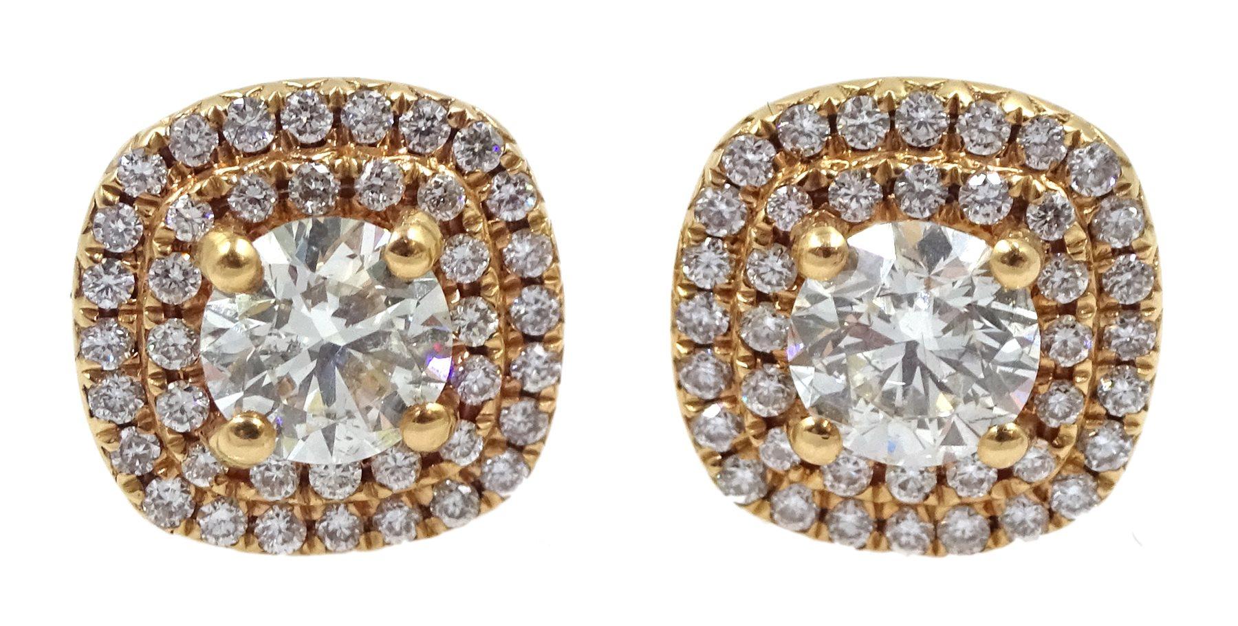 Pair of 18ct gold diamond cluster stud earrings