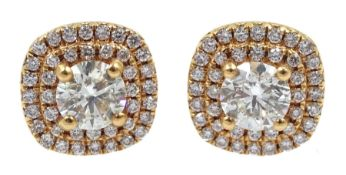 Pair of 18ct gold diamond cluster stud earrings