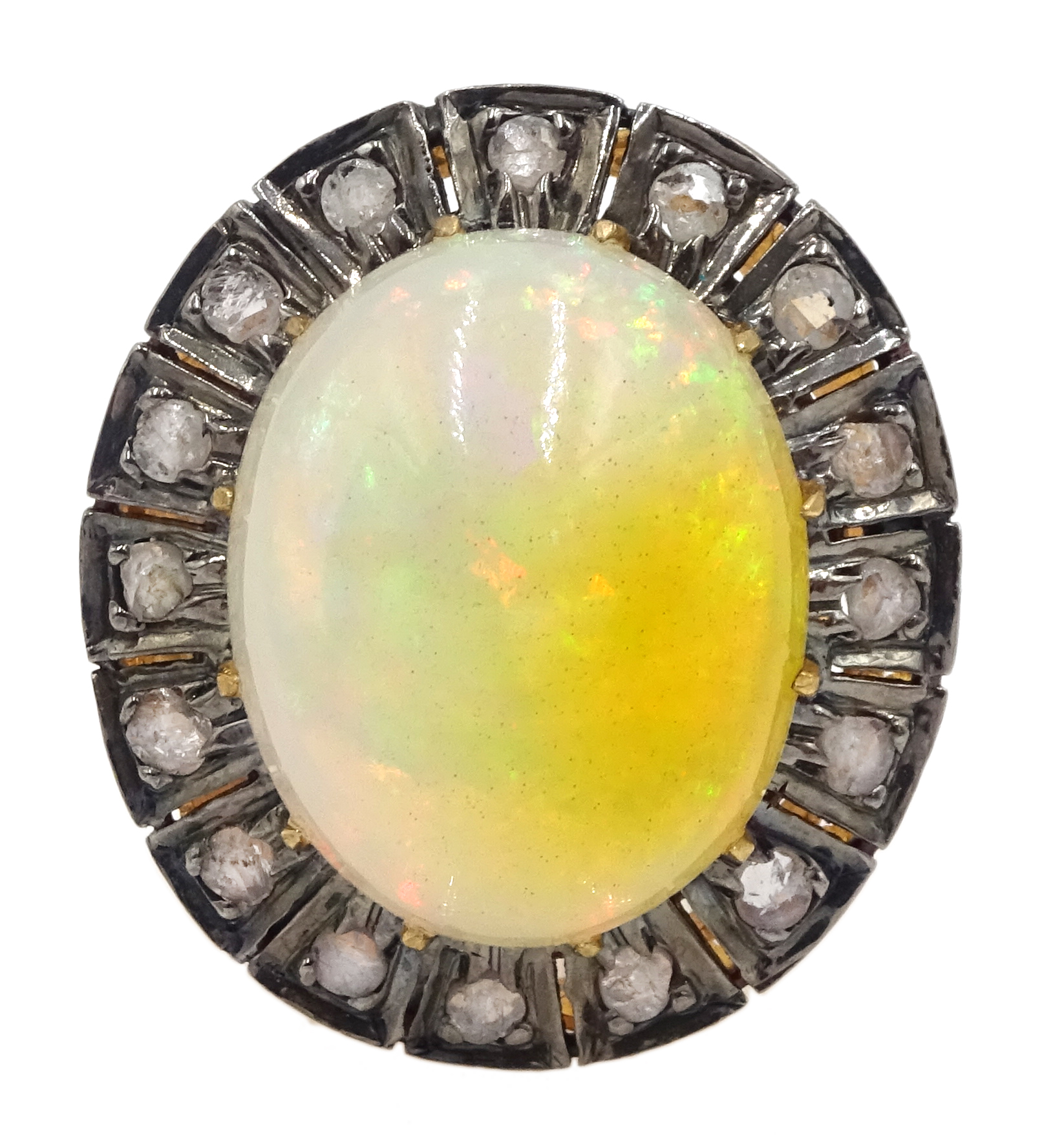 14ct gold and silver cabochon Ethiopian opal and rose cit diamond ring
