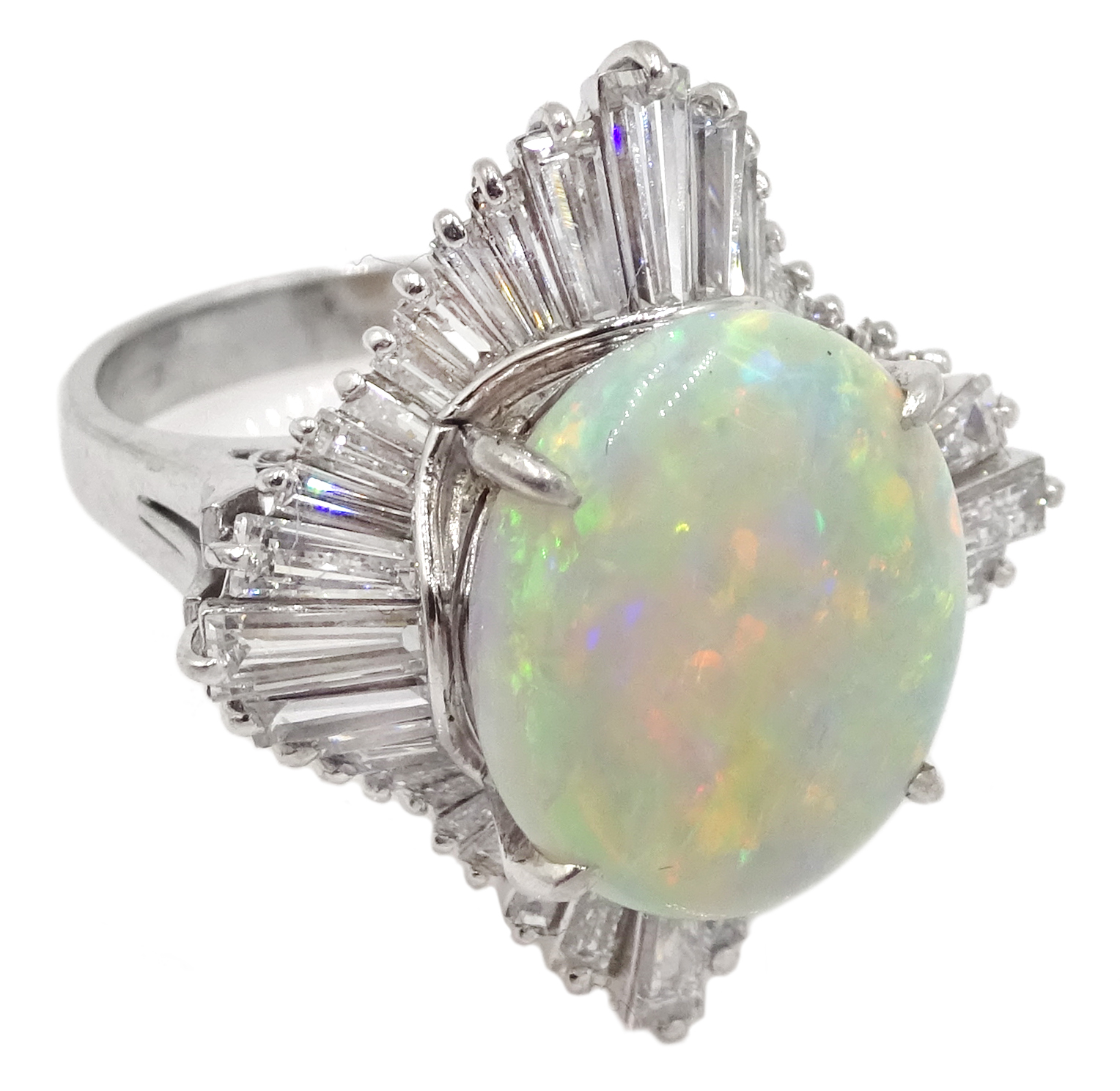 Platinum oval cabochon opal and baguette diamond ring - Image 3 of 5