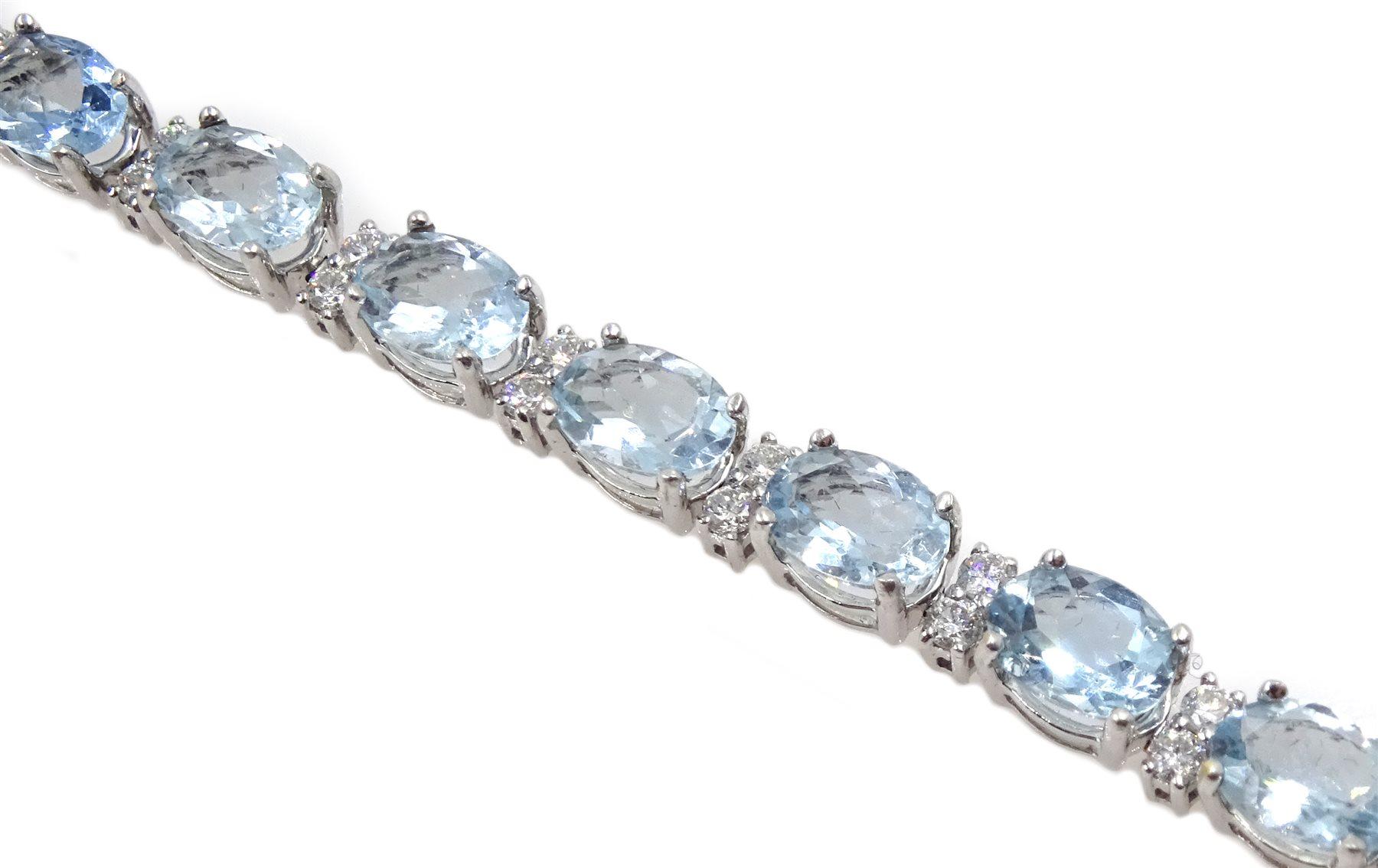 18ct white gold oval aquamarine and diamond bracelet - Image 4 of 5