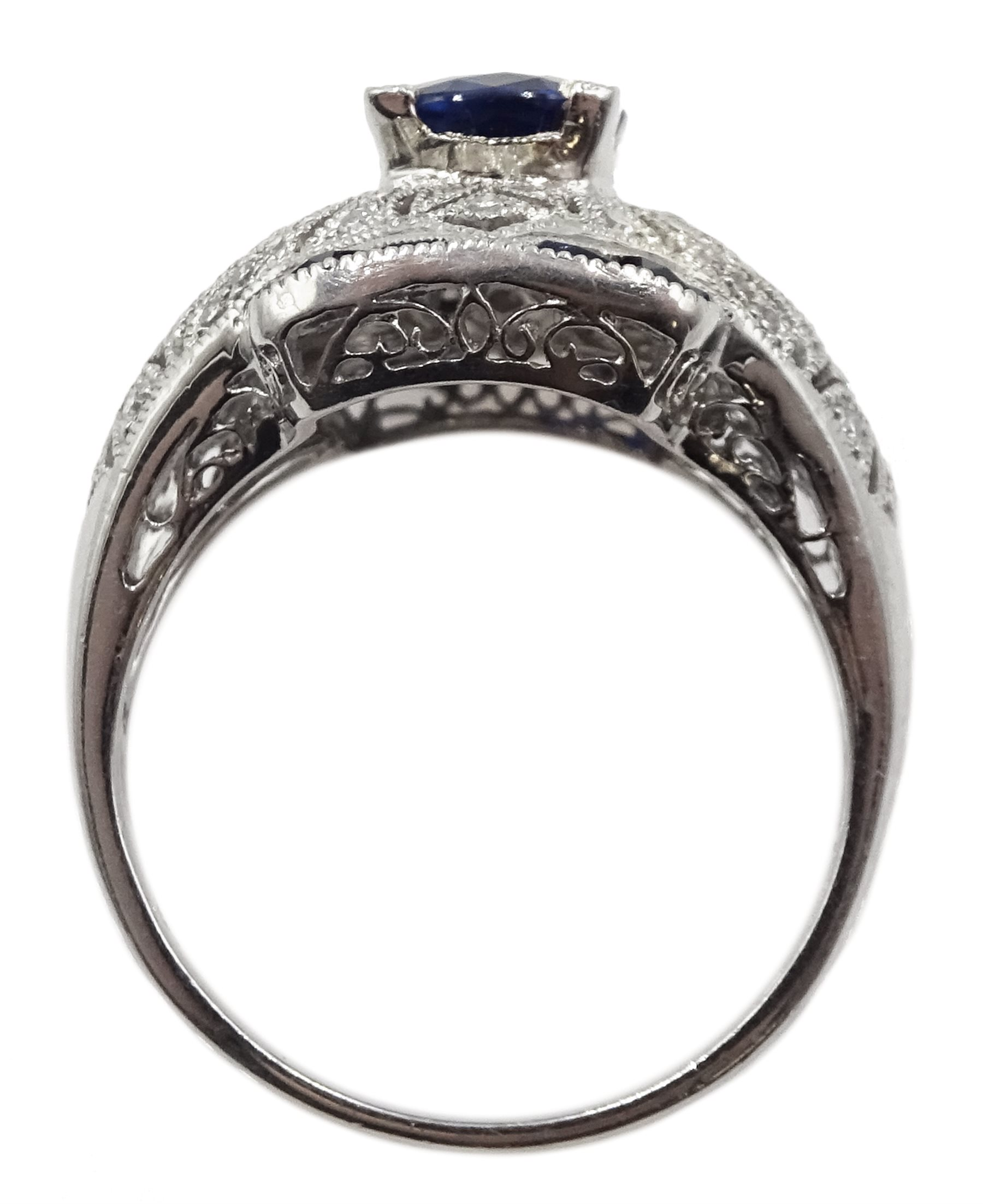 Platinum sapphire and diamond dress ring - Image 6 of 6