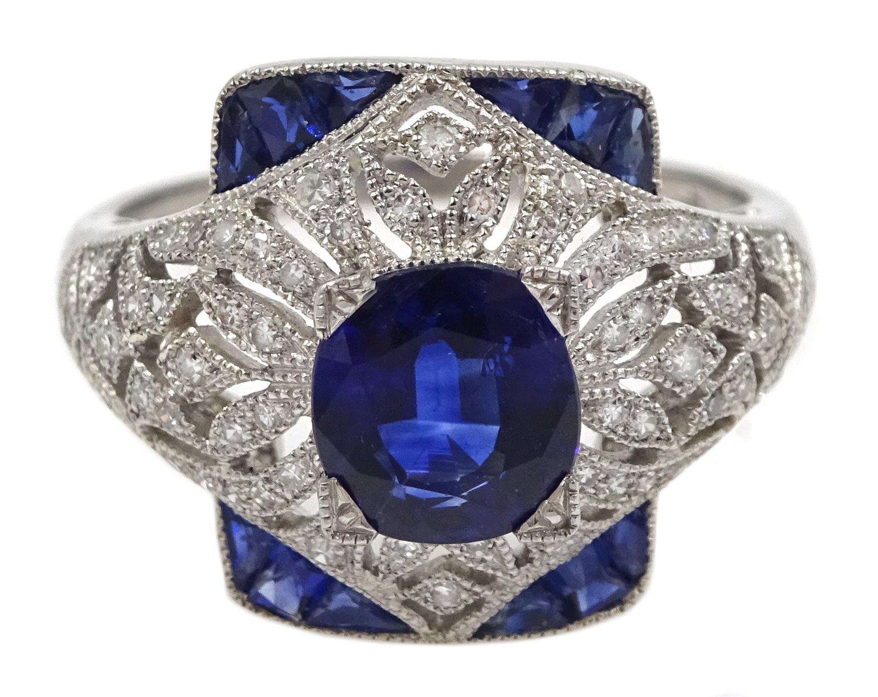 Platinum sapphire and diamond dress ring