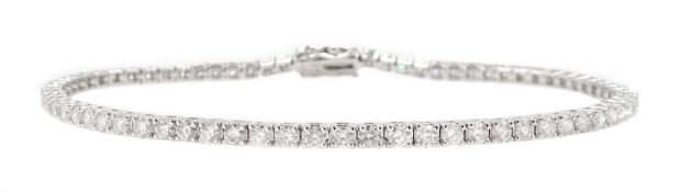 White gold round brilliant cut diamond line bracelet