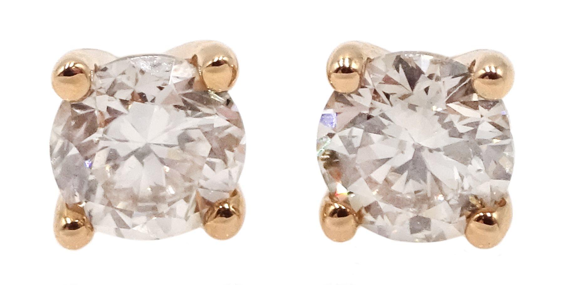 Pair of 18ct rose gold brilliant cut diamond stud earrings