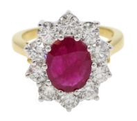 18ct gold oval ruby and round brilliant cut diamond cluster ring