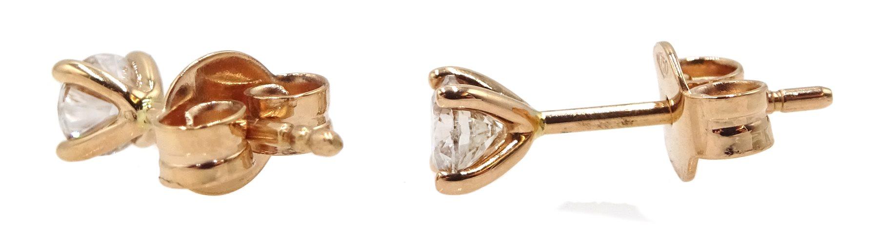 Pair of 18ct rose gold brilliant cut diamond stud earrings - Image 2 of 2