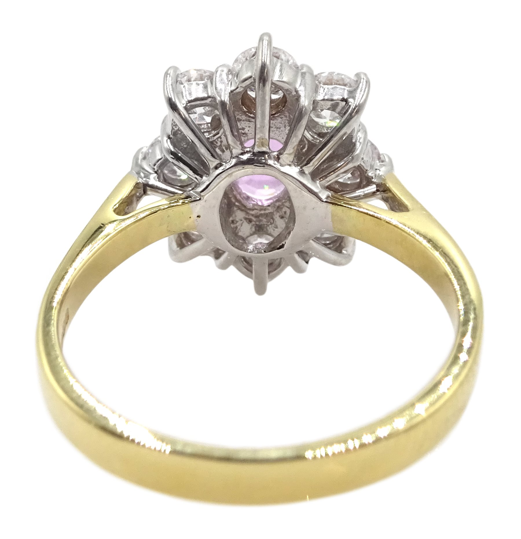 18ct gold pink sapphire and diamond cluster ring - Image 6 of 6
