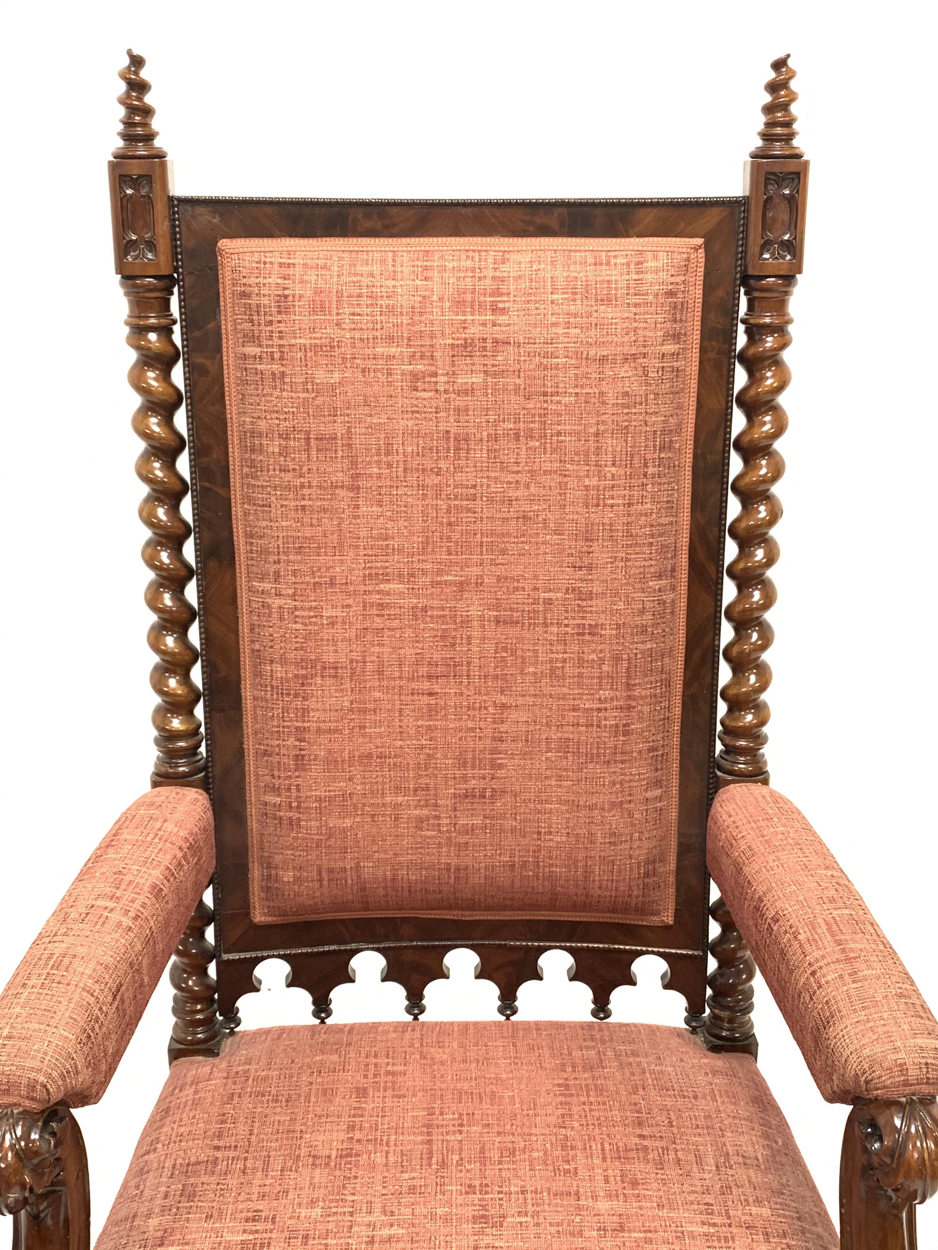 19th century Puginesque mahogany throne chair - Image 6 of 6