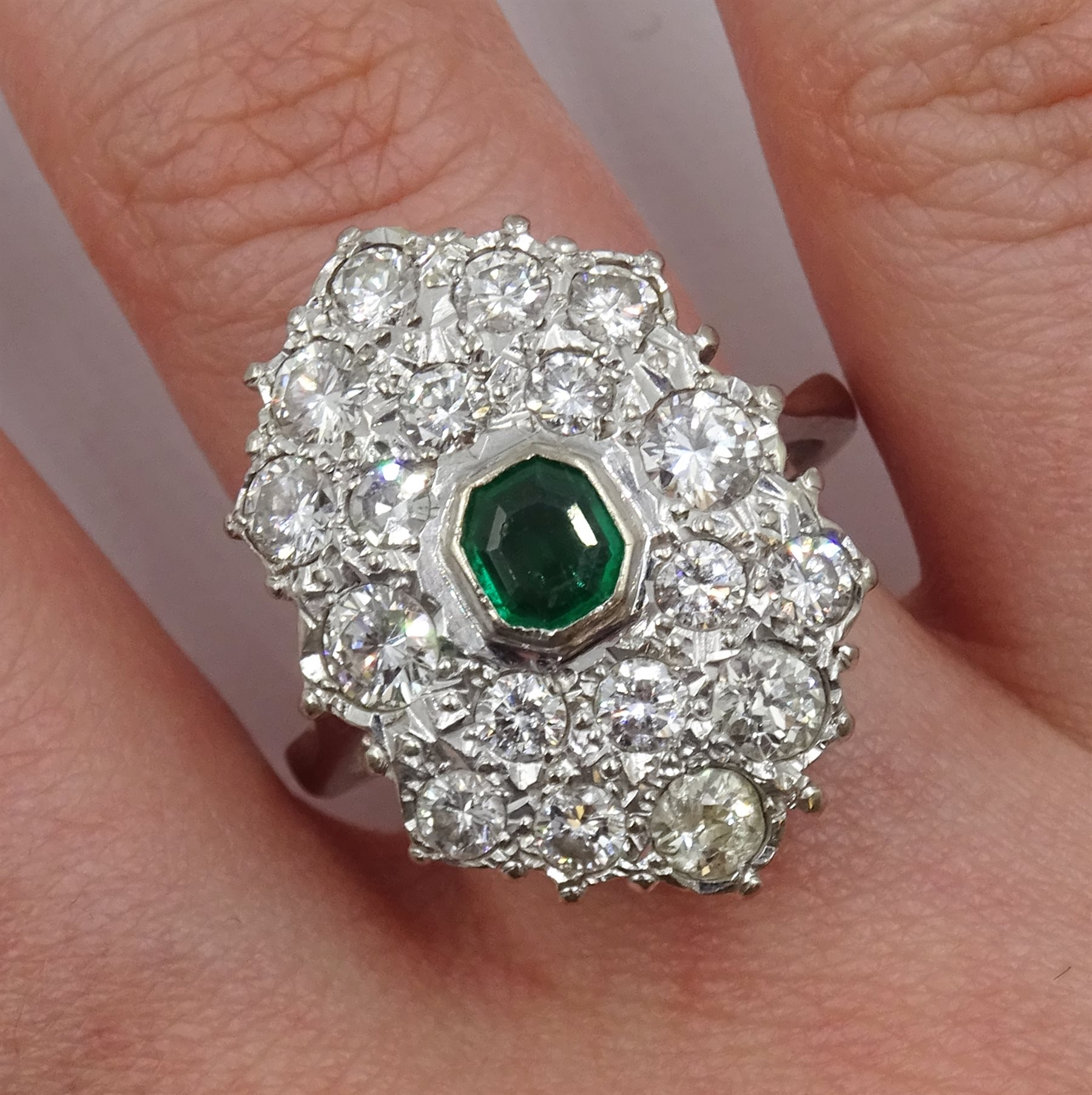 White gold Zambian emerald and diamond cluster ring - Image 2 of 5