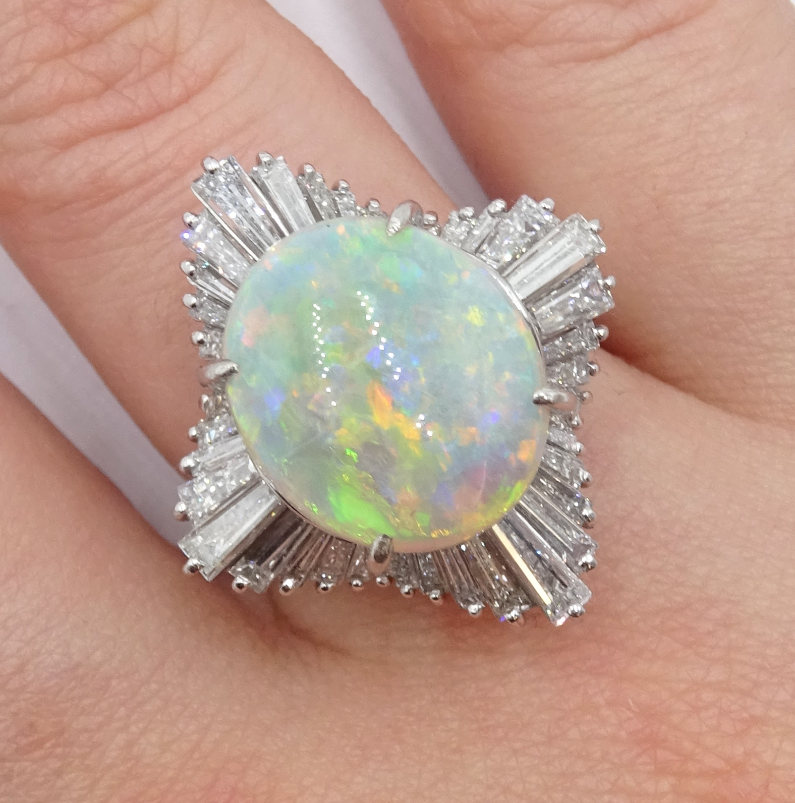 Platinum oval cabochon opal and baguette diamond ring - Image 2 of 5