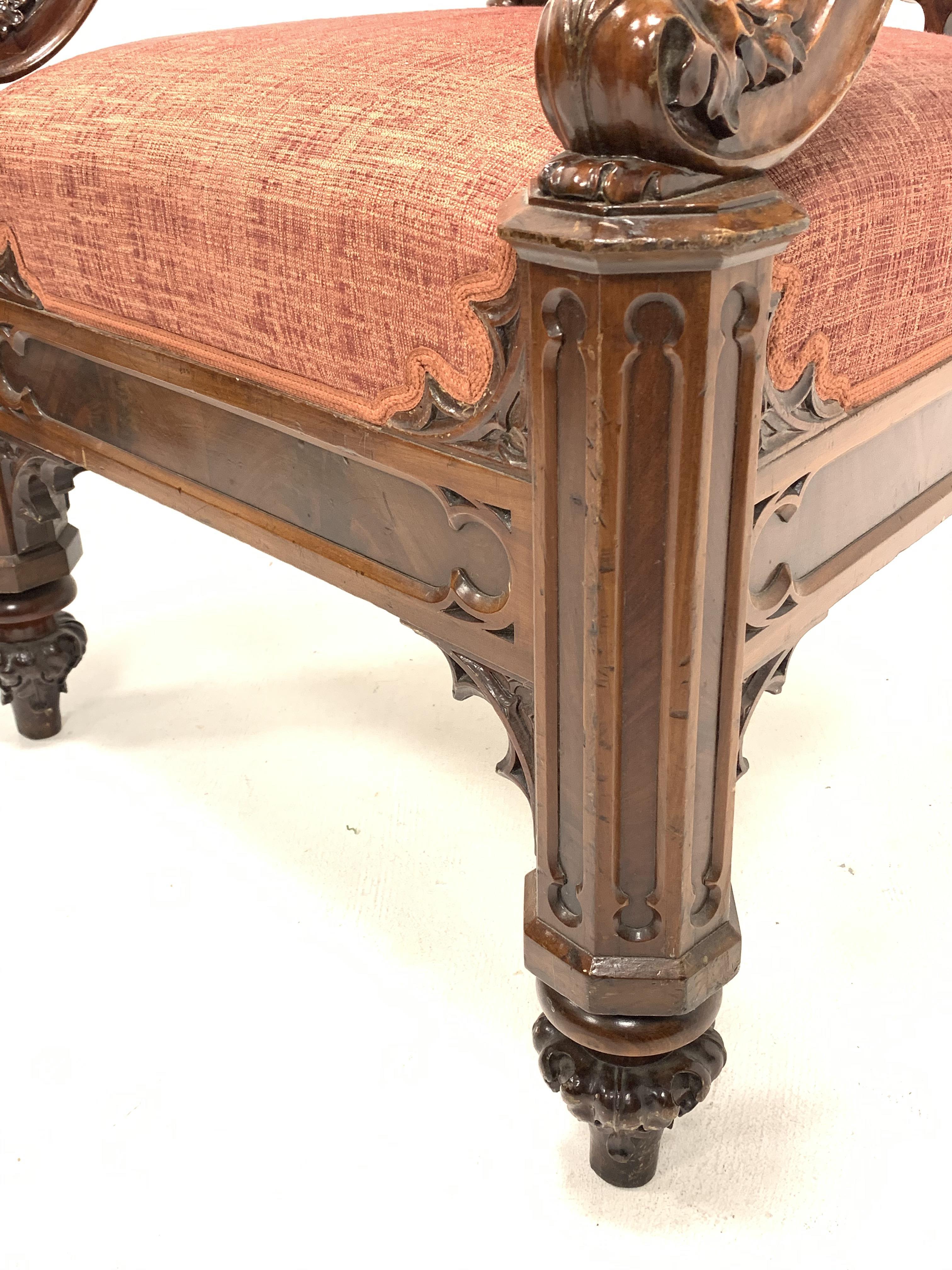 19th century Puginesque mahogany throne chair - Image 4 of 6