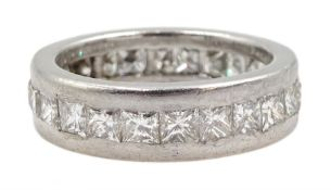 Platinum princess cut diamond full eternity ring