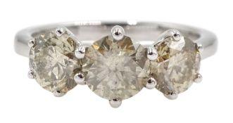 18ct white gold three stone round brilliant cut diamond ring
