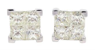 Pair of white gold diamond screw back stud earrings