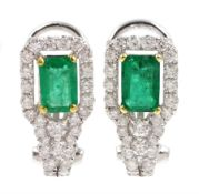 Pair of 18ct white gold emerald and round brilliant cut diamond stud clip earrings