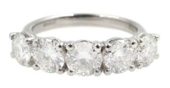 Platinum five stone round brilliant cut diamond ring