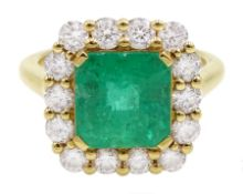 18ct gold emerald and diamond cluster ring