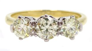 18ct white and yellow gold three stone diamond ring