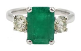 18ct white gold emerald and diamond three stone ring